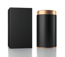 Black Aluminum Can With Cardboard Box Mockup. Canned Packaging With Gold Lid For Tea, Coffee, Gift Box. 3d Rendering