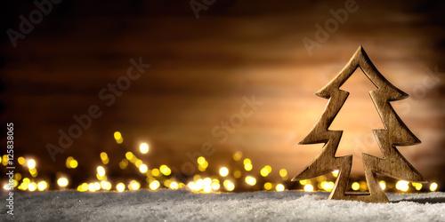 Foto-Doppelrollo - Weihnachtliche Szene aus Holz im Laternenlicht (von Smileus)
