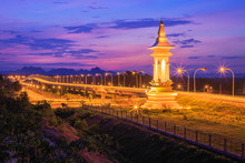 Beautiful Third Thai Laos Relationship Bridge, Is Over The Mekong That Connects Nakhon Phanom Province In Thailand With Thakhek, Khammouane In Laos.