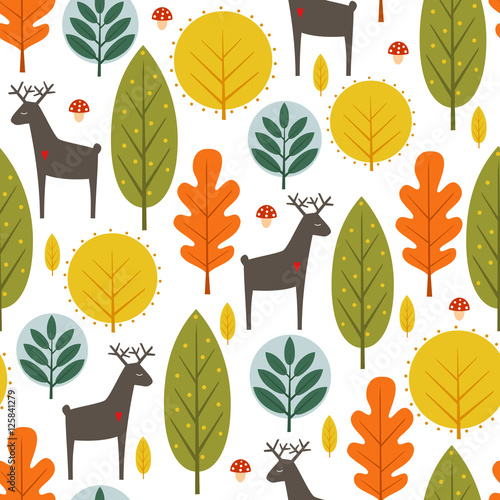 Autumn trees and deer seamless pattern on white background. Decorative forest vector illustration. Cute wild animals nature background. Scandinavian style design for textile, wallpaper, fabric, decor. - 125841279
