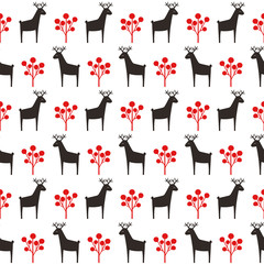 Obraz Deer with berry seamless pattern. Cute cartoon nature background. Christmas style animal illustration. Xmas design for textile, wallpaper, fabric.