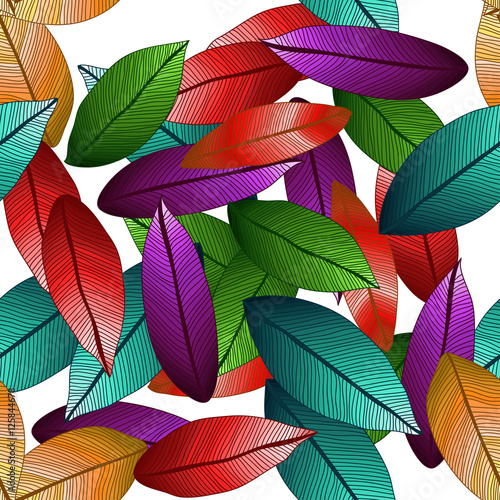 Fotografie, Obraz  Vector colored leaves with degrade effect on white background
