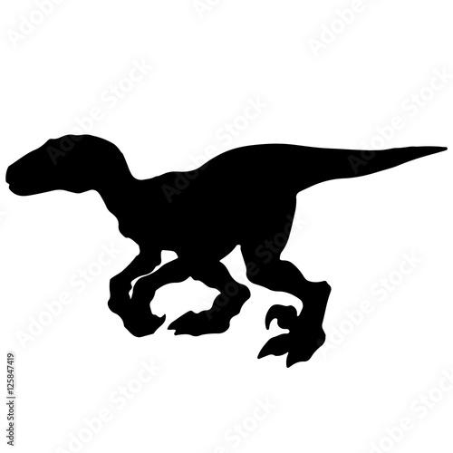Photo  Black vector illustration silhouette of velociraptor