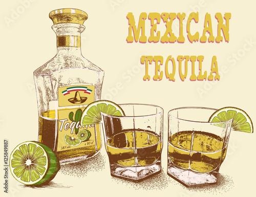 Fotografie, Obraz  Two stemware of tequila with bottle