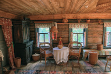 Traditional Interior Of Old Russian Log Village House Of 19th Ce