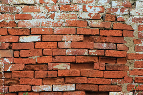 texture of old dilapidated shabby brickwork of red brick wall fo