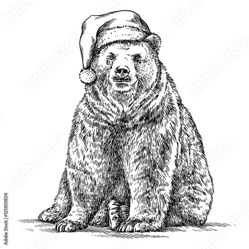 Foto auf Gartenposter Weihnachten Brown bear, black and white engrave. Christmas hat.