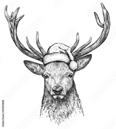 Foto op Plexiglas Kerstmis deer, black and white engrave. Christmas hat.