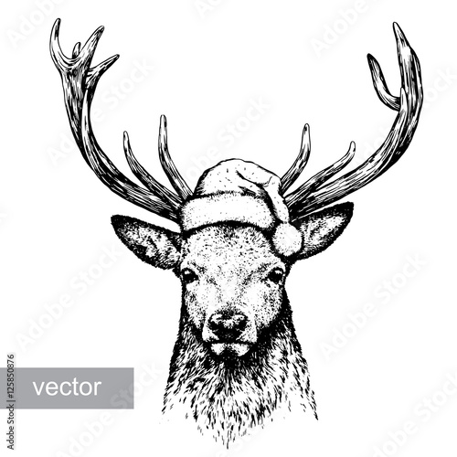 Foto op Plexiglas Kerstmis deer, black and white engrave. Christmas hat. Vector