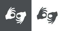 Icono Plano Lenguaje De Signos Gris