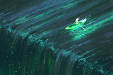 Man Rowing In Glowing Green Boat Near Edge Of Waterfall,illustration Painting