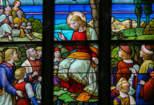 Feeding the multitude - Stained Glass depicting the Miracle of t Canvas Print