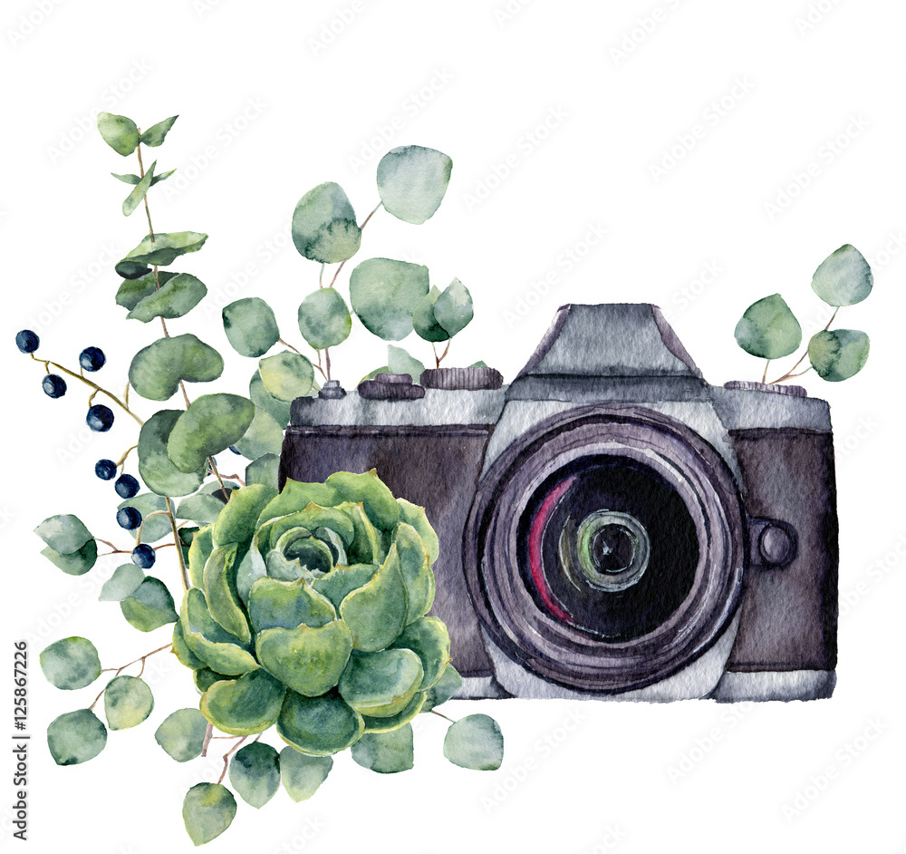 Fototapety, obrazy: Watercolor photo label with succulent and eucalyptus. Hand drawn photo camera with floral design isolated on white background. For design, logo, prints or background