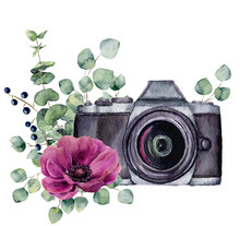 Watercolor Photo Label With Anemone Flower And Eucalyptus. Hand Drawn Photo Camera With Floral Design Isolated On White Background. For Design, Logo, Prints Or Background
