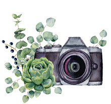 Watercolor Photo Label With Succulent And Eucalyptus. Hand Drawn Photo Camera With Floral Design Isolated On White Background. For Design, Logo, Prints Or Background