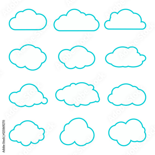 Collection of clouds collection  Thin lines icons  Cloud
