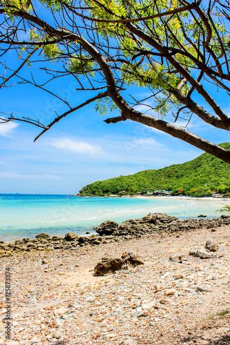 Foto op Plexiglas Indonesië Island sea rock beach with clear sky landscape