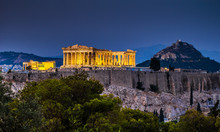 Parthenon Of Athens At Dusk Time,  Greece
