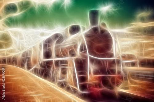 Pinturas sobre lienzo  Old steam locomotive illustration, vintage train.