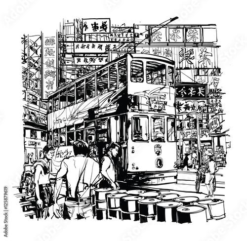 Keuken foto achterwand Art Studio Hong Kong, tram on the street