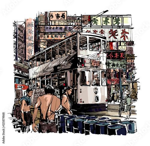 komiksowa-grawfika-tramwaj-na-ulicach-hong-kongu