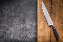 Kitchen Knife On Concrete Or W...
