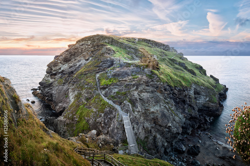 Tintagel, United Kingdom - August 12, 2016: View of Tintagel Island and legendar Wallpaper Mural