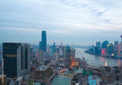 Poster Los Angeles Aerial photography at Shanghai bund Skyline of twilight