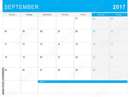 Fototapeta 2017 September calendar (or desk planner) with notes obraz na płótnie
