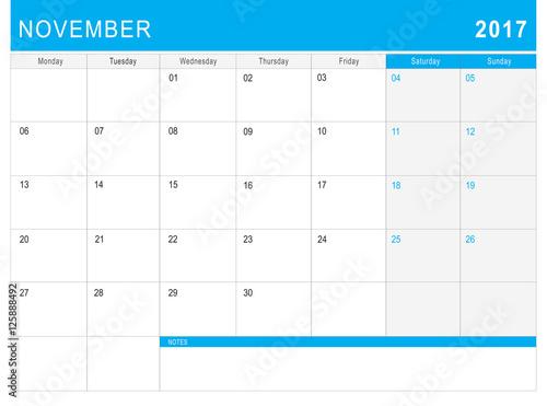 Fototapeta 2017 November calendar (or desk planner) with notes obraz na płótnie