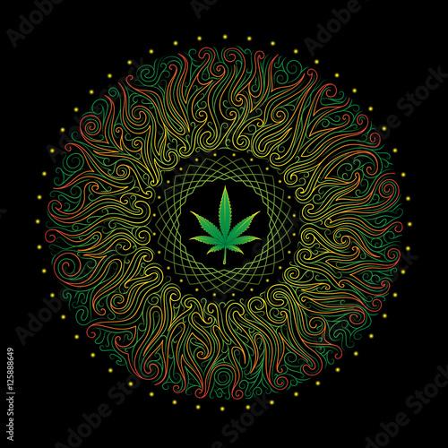 Fotografie, Obraz  vector nonrecurring circular floral ornament with marijuana leaf