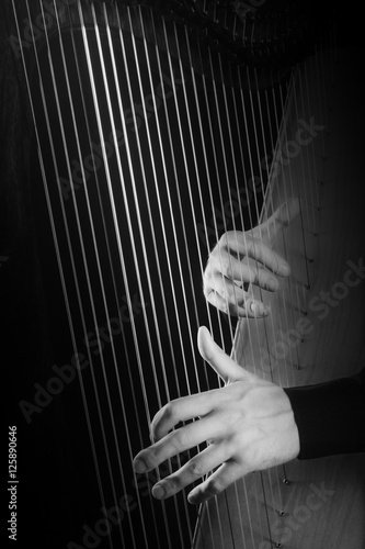 Photo Stands Music Harp strings Hands playing musical instruments.