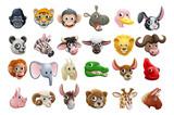 Fototapeta Fototapety na ścianę do pokoju dziecięcego - Cartoon Animal Faces Icon Set