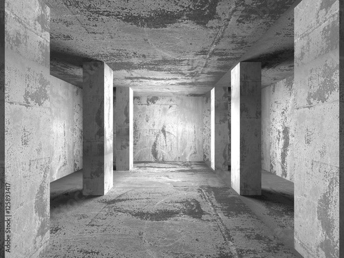Geometric architecture background. Empty dark concrete room inte