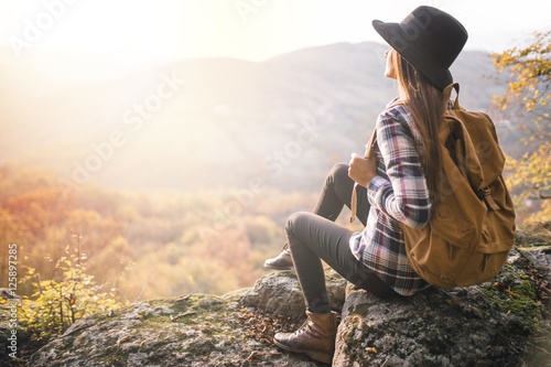 Young hipster girl enjoy sunset Canvas Print