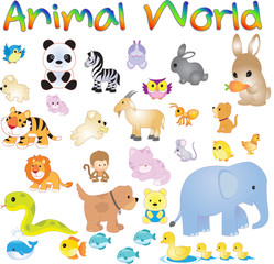 Vector illustration of Animal World