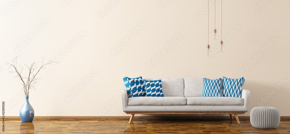 Fototapety, obrazy: Interior of living room with sofa and pouf 3d rendering