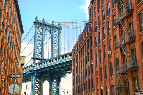 Manhattan Bridge seen from Brooklyn, New York City