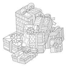 Christmas Presents Adult Coloring Page For Adults In Zentangle Style
