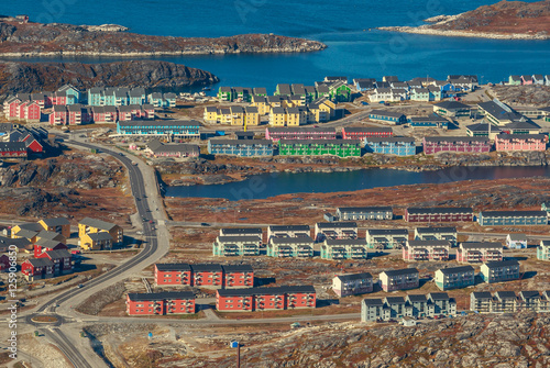 Papiers peints Arctique Aerial view of Nuuk city and fjord, Greenland