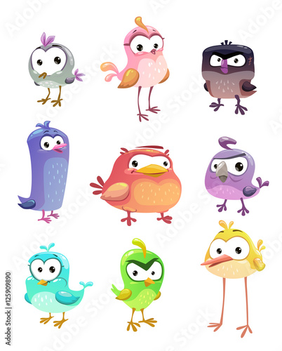 Funny cartoon standing birds set Fototapet