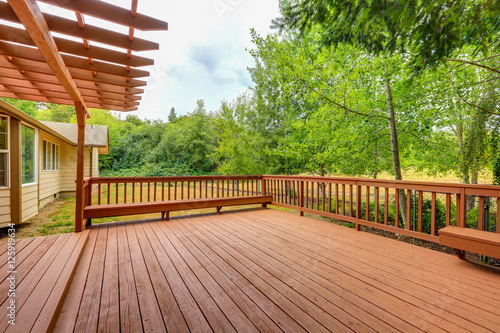 Obraz Exterior of horse ranch with large wooden walkout deck - fototapety do salonu