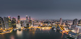 Fototapeta Nowy York - aerial view of the marina bay of the singapore city