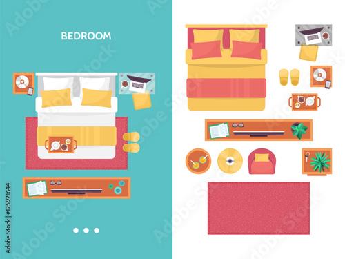 Bedroom Floor Plan Top View Furniture Set For Interior Design Vector De Stock Adobe Stock