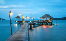 Paradise. Vacations And Tourism Concept. Tropical Resort. Jetty On Koh Mak Island, Trad,Thailand