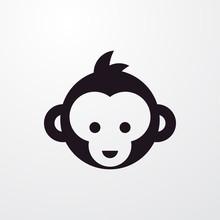 Monkey Face Icon Illustration