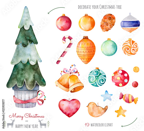 merry christmas and happy new year watercolor setdecorate your christmas tree with 19 decorative - Merry Christmas And Happy New Year Clip Art
