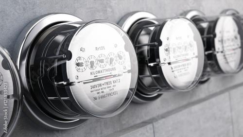 Kilowatt hour electric meters, power supply meters. 3d rendering Wallpaper Mural
