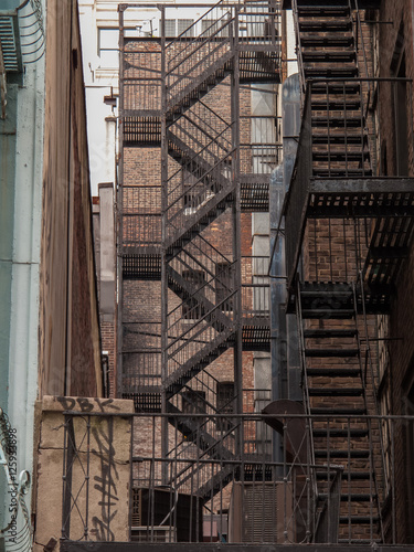 Stairs For Fire Escape At Back Street In New York