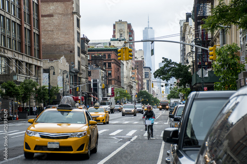 Staande foto New York New York City Taxi Streets USA Big Apple Skyline